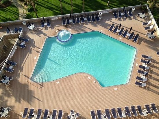 The Galvestonian: View of pool from balcony of unit # 912