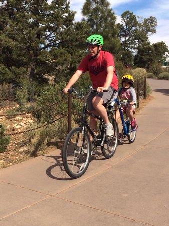 "Bright Angel Bike Rentals and Tours: Dad's bike with the ""tag along"" attached"