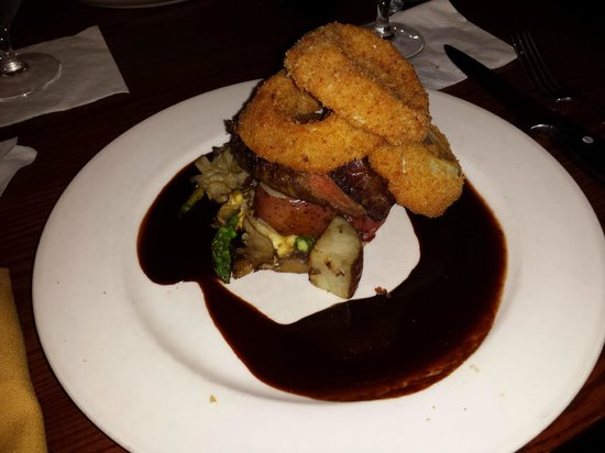 111 Chop House : Flat Iron Steak (under the yummy onion rings!)