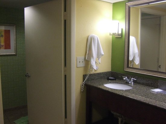 Hampton Inn & Suites Ft. Lauderdale Airport/South Cruise Port : Vanity separate from toilet & tub/shower (single sink)