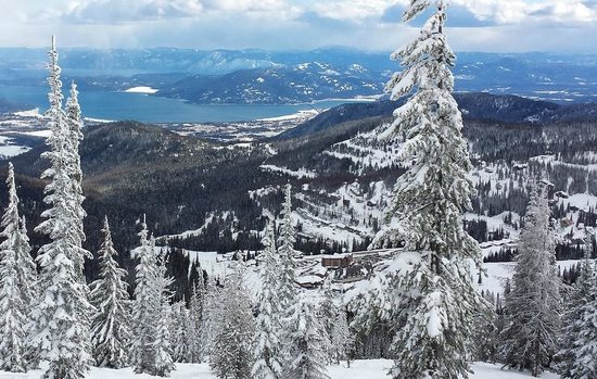 Schweitzer Mountain: View of Schweitzer Village and Lake Pend Orielle from the top of the Sundance ski trail