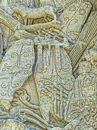Arc de triomphe : Closeup of shields on a relief on the imperial arch in Orange, France.