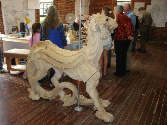 The Historic Carousel and Museum : A creature takes shape in wood
