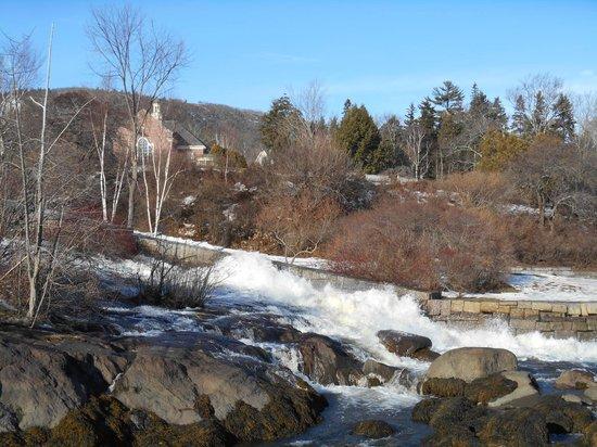 Waterfront: waterfall into Camden Harbor, Camden Maine