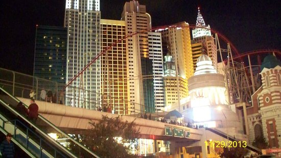 New York - New York Hotel and Casino: Night view from across the street in front of the MGM.