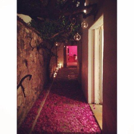 5dMayo Experimental Restaurante: pasillo gotas cristal con flores en el piso.. increíble!!!