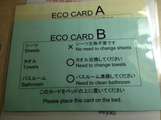 Hotel Sunlite Shinjuku: Eco Card B.