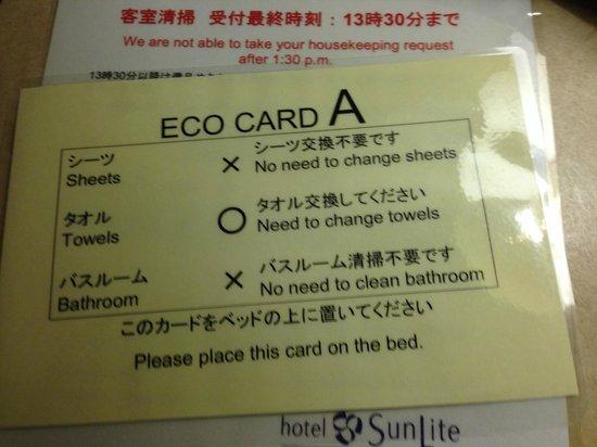 Hotel Sunlite Shinjuku: Eco Card A