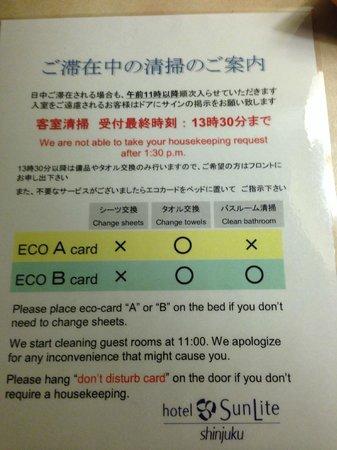 Hotel Sunlite Shinjuku: Eco card instructions.