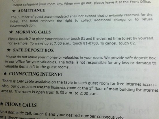 Hotel Sunlite Shinjuku: Lots of rules and regulations.
