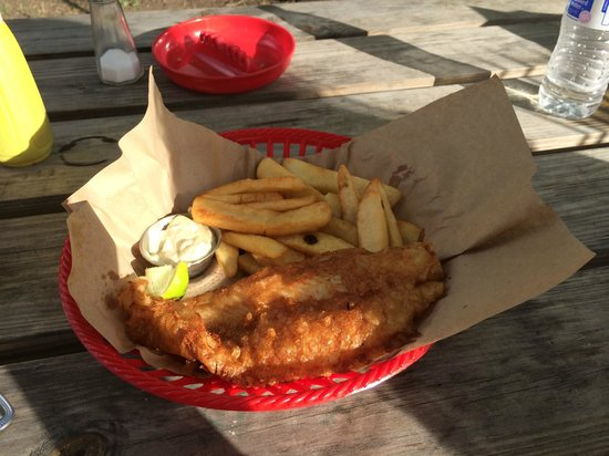 Shell's Double Decker Fish & Chips: Fish fillet rather than small bits of fried fish