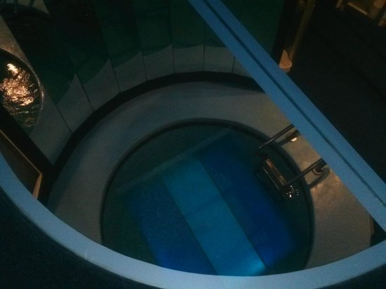 Pocono Palace Resort : The view of the pool 2 levels below seen thru the glass floor.