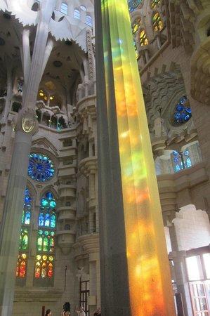 Sagrada Família : the coloured mirrors reflected beautifully on each pole