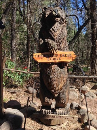 Christopher Creek Lodge: Welcome Bear at the entrance