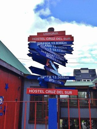 Cruz del Sur Independent Hostel: Placa com as distâncias