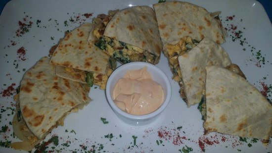 Mango Cafe Isla: Breakfast quesadilla - has potatoes, bacon, and a great chipotle sauce!