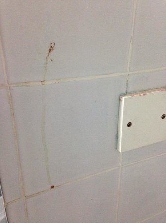 Klana Resort Seremban : Blood stain on wash room's wall.