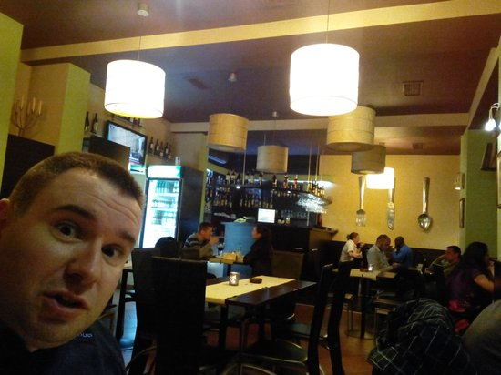 Cucina di casa - restaurant & bar: photo-bombing boyfriend and some of the ceiling design