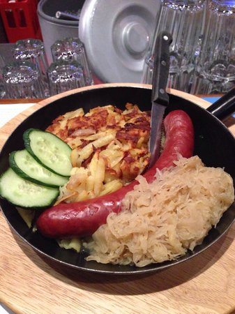 Bistro Memory: Traditional sausage, sauerkraut, and shredded potatoes. Absolutely excellent!