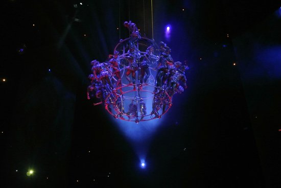 The House of Dancing Water: colourful play of lighting on the human chandelier