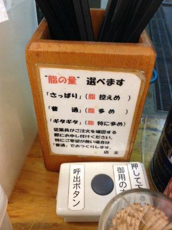 Kotteri Ramen Naritake : 選べる脂の量