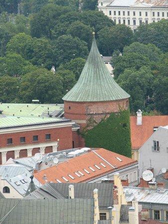 View of Riga from St Peter's Church Tower: пороховая башня