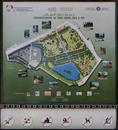 Jardin Jnan Sbil : Схема парка