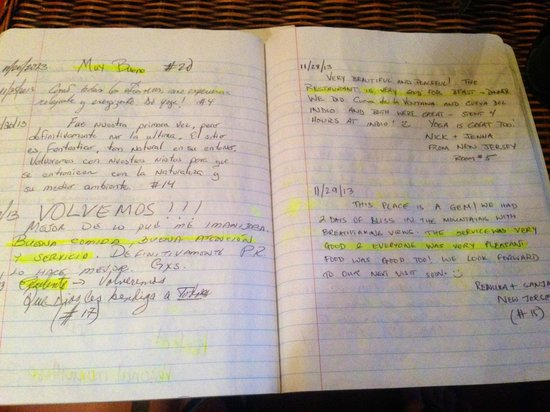 Casa Grande Mountain Retreat: some entries in one of the many guest books