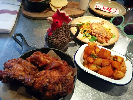 Joe's Southern Table & Bar : Fried Chicken, Southern potatoes, chicken gravy and a soft shelled crab
