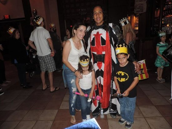 Medieval Times Dinner & Tournament: The red and black knight with me and the babies!