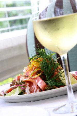 The Brasserie: Crisp salad ane Sav. Blanc.