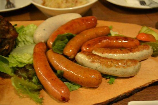 Brotzeit German Bier Bar & Restaurant : Sausages (part of platter)