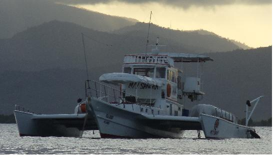 Palawan Island, Philippines: M/Y Sakura at anchor in Honda bay