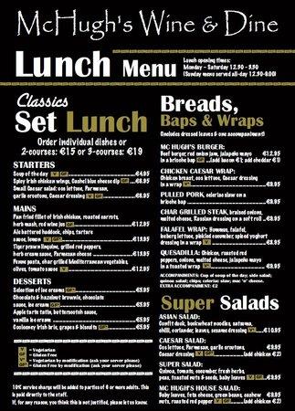 McHugh's Wine & Dine: New lunch menu