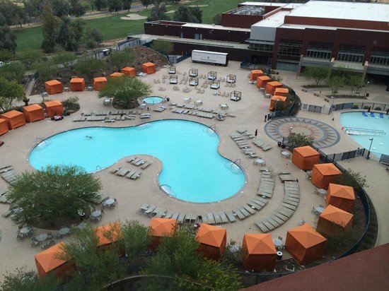 Talking Stick Resort: View from our room of the swimming pools