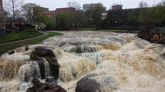 Falls Park on the Reedy : Full and muddy river after a heavy rain.