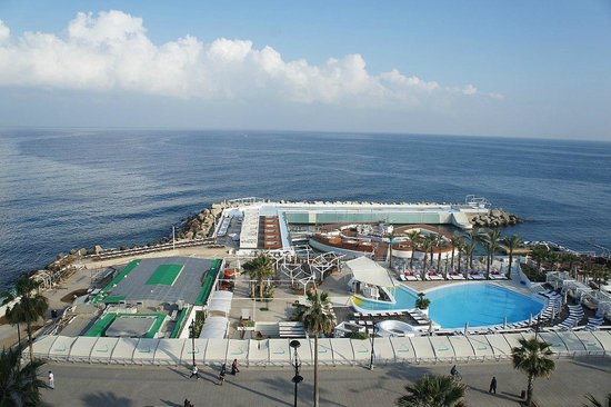 Riviera Hotel Beirut: A view of the Riviera's seaside pools, hot tubs, and restaurants.