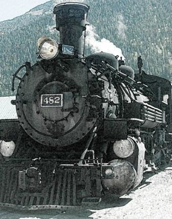Durango and Silverton Narrow Gauge Railroad and Museum: Engine 482 in Silverton, waiting for the return trip to Durango.