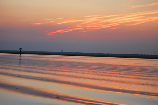North Wildwood Beach: Sunset at Inlet looking at Stone Harbor from North Wildwood
