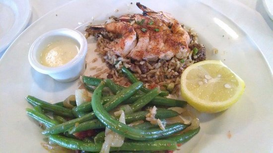 Landry's Seafood House: Not southern style green beans, dirty rice ok, 13.99