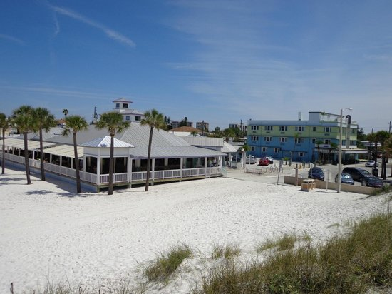 Palm Pavilion Inn: Picture of our Hotel & Restaurant from sand dune on Beach