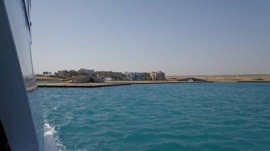 Marina Lodge at Port Ghalib : view over sea to hotel