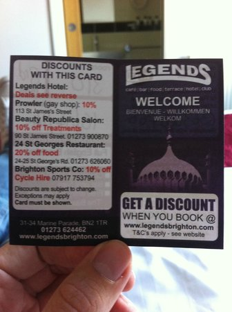 Legends Hotel: discounts in town for residents
