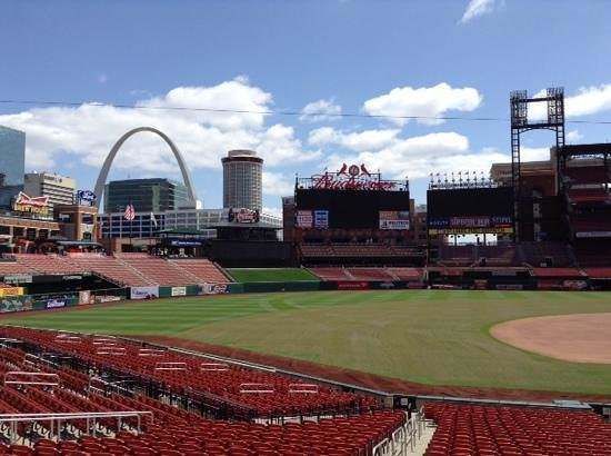 Busch Stadium : View of St. Louis skyline from third base side of the field.
