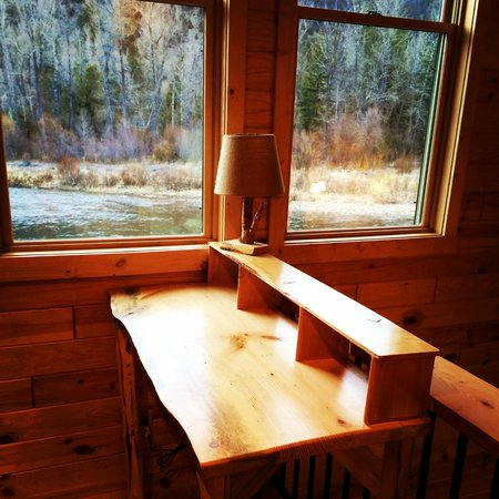 The Cabins at Rock Creek: View from fly tying desk Willow/Cottonwood Cabins