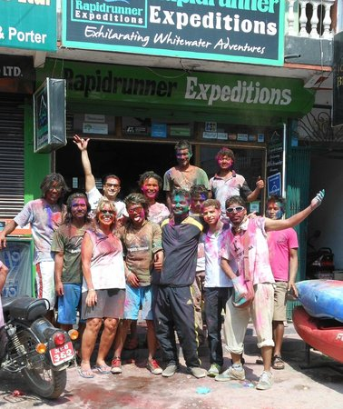 Rapidrunner Expeditions - Day Tours: Holi celebration in front of the shop