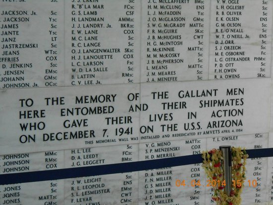 USS Arizona Memorial/WW II Valor in the Pacific National Monument : Memorial wall