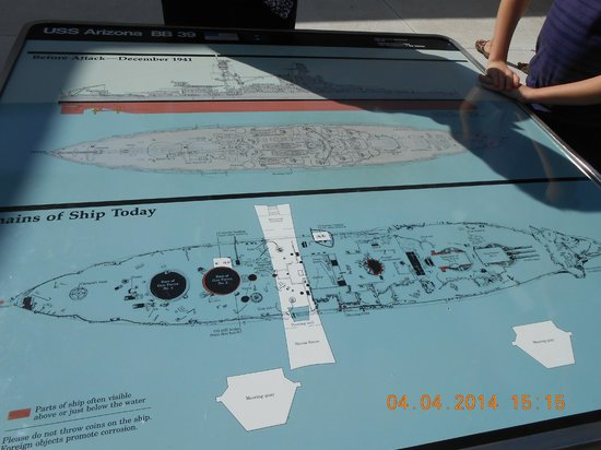 USS Arizona Memorial/WW II Valor in the Pacific National Monument : Map showing memorial over Arizona