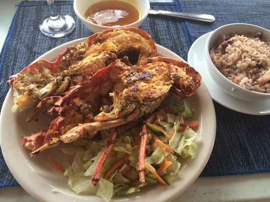 Negril Tree House Resort : O prato: deliciosas lagostas