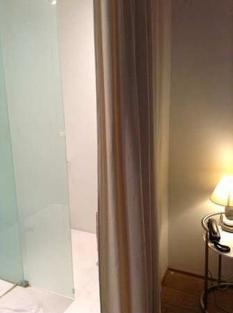 Hotel Cafe Pacific: toilet behind sliding door followed by curtain